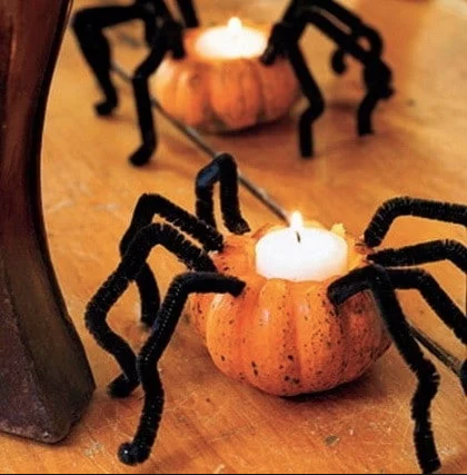 Create a scary space in your kitchen with these pumpkin candles.