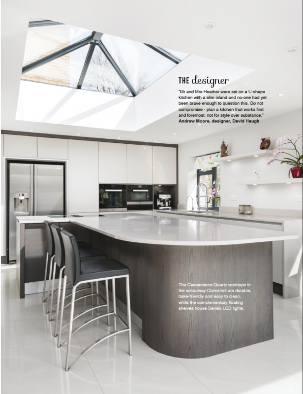 The second page of Stoneham's feature in Utopia Kitchen & Bathroom magazine.