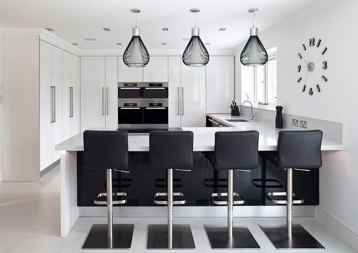 Stoneham's Infinity collections works well in a white kitchen.