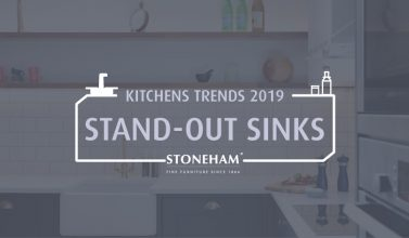 A blog graphic for Stoneham's blog series on 2019 kitchen trends and stand-out sinks.