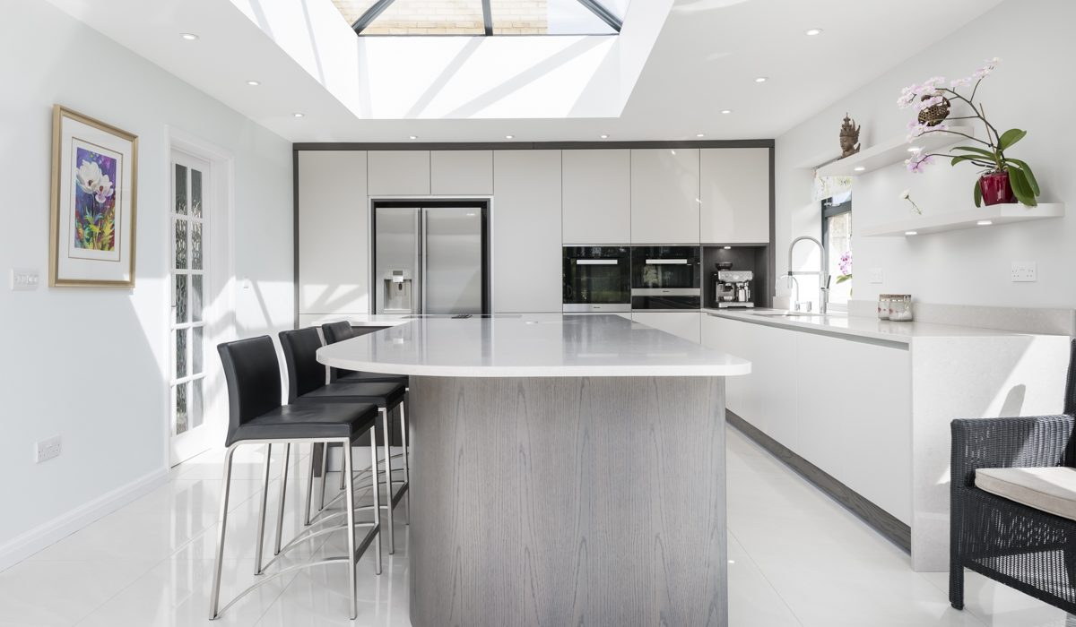 Stoneham's latest project - a white kitchen with bespoke curved island.
