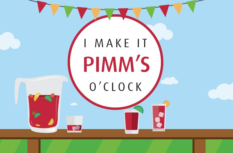 Illustration of a jar of Pimms on a table outside in the summer