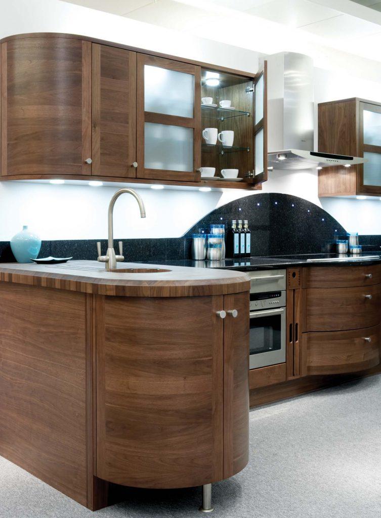 Elan kitchen with walnut worktops and storage cupboards