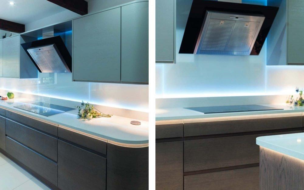 Oak kitchen with white units