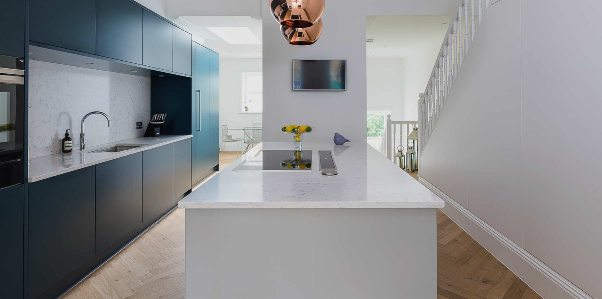 Contemporary Fusion kitchen in blue