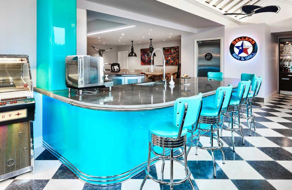 Retro American diner style kitchen