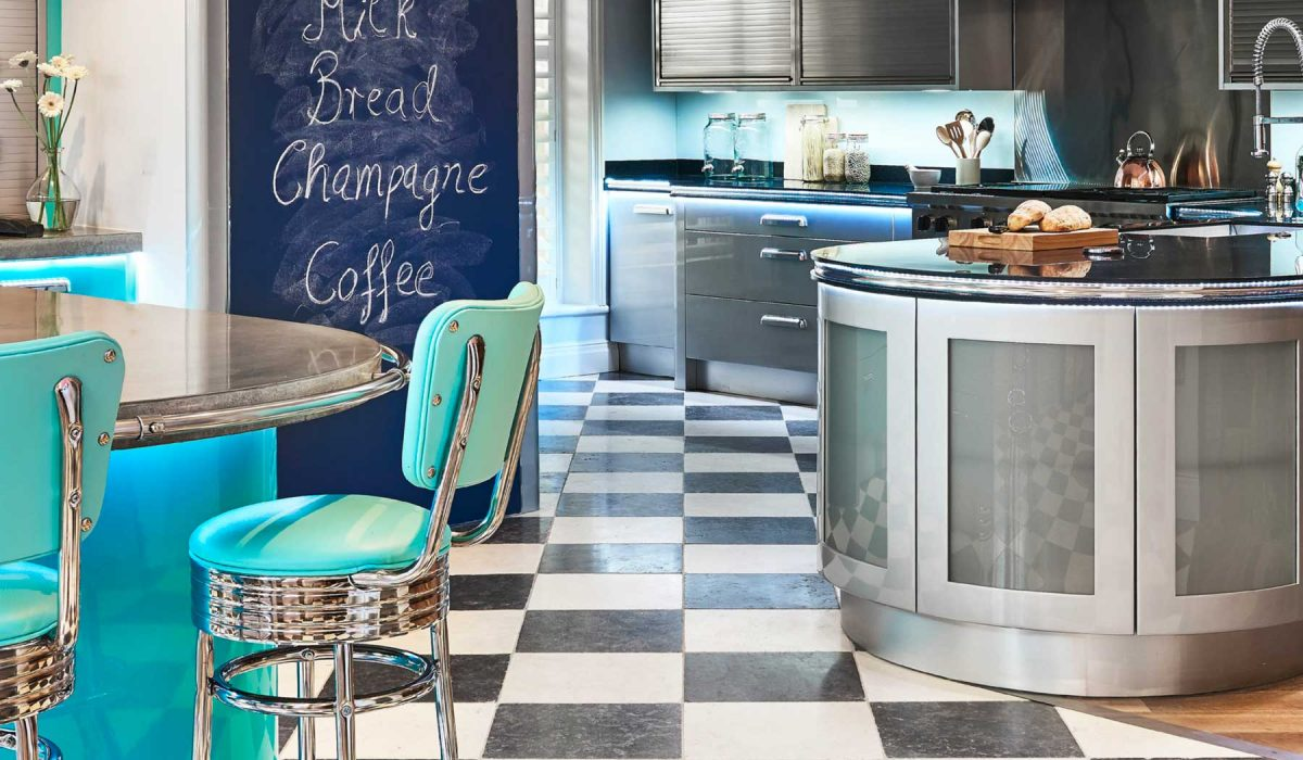Retro American Diner Style Kitchen With Checkerboard Floor Tiles