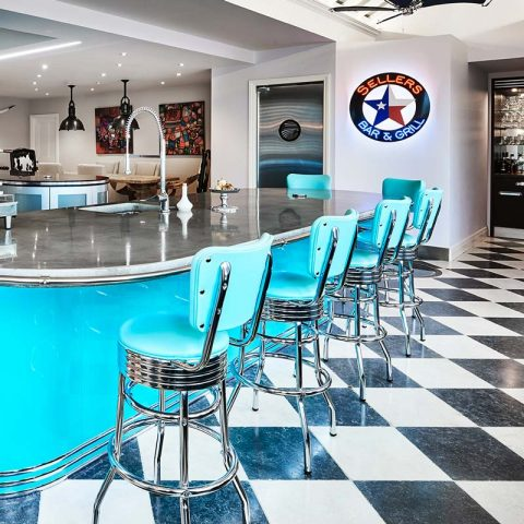 Retro American diner style kitchen in bright blue