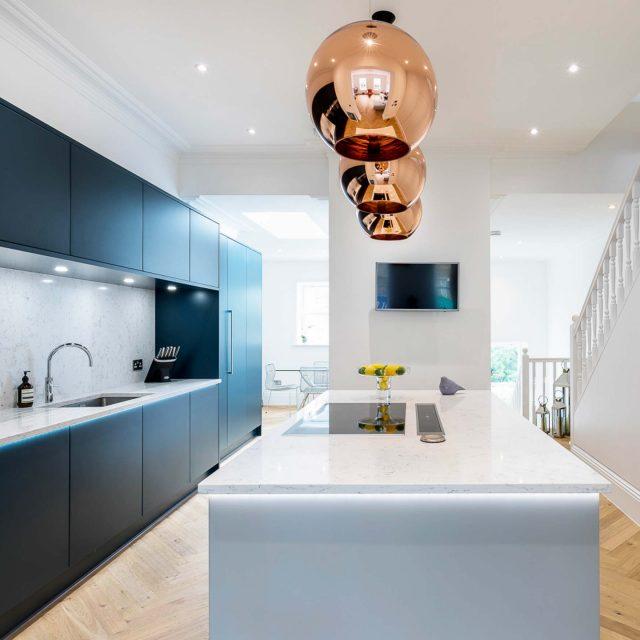 west london kitchen design. Contemporary open plan kitchen in deep blue  West London Home Stoneham Kitchens