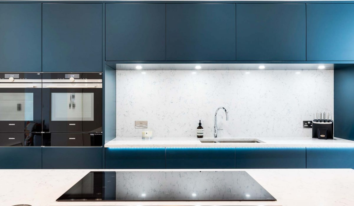 Contemporary Open Plan Kitchen In Deep Blue. West London