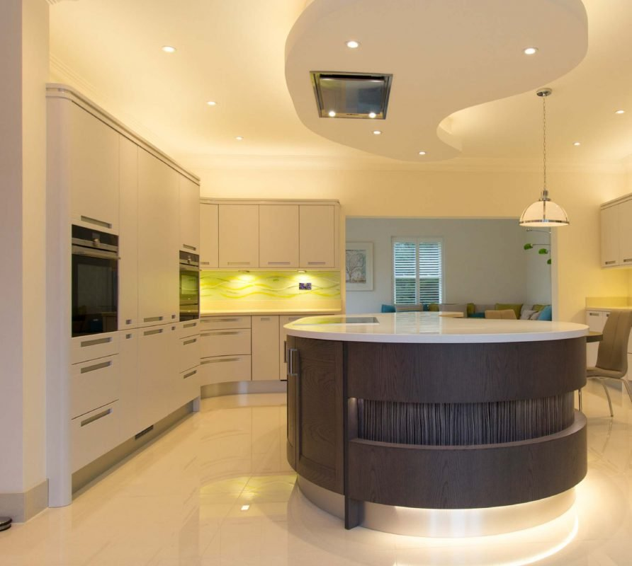 Contemporary Light Grey Kitchen With LED Lighting