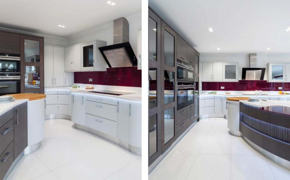 Contemporary kitchen with contrasting storage units