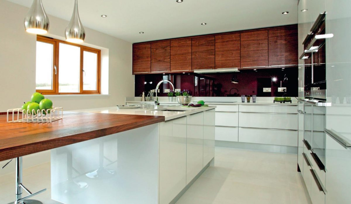 Gloss and wood fusion contemporary kitchen with wooden units
