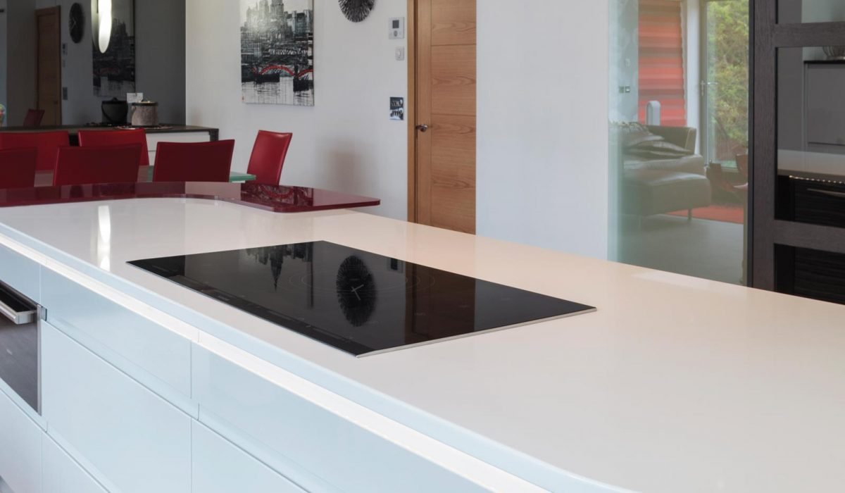 Gloss and wood kitchen with white island and induction cooker