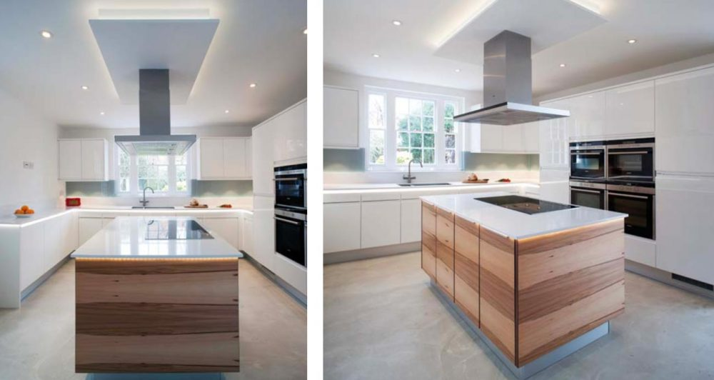 Gloss contemporary kitchen with walnut centre island from different angles