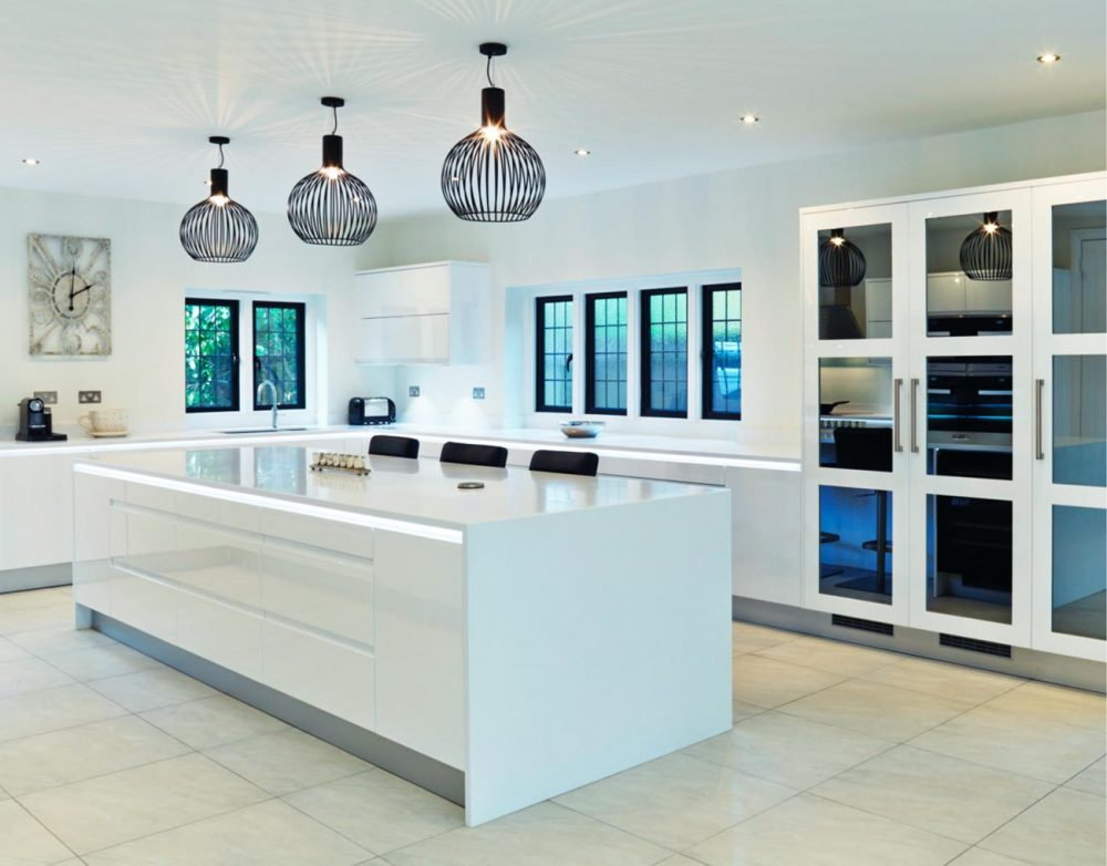 High gloss white kitchen with sleek island