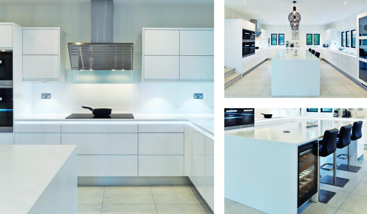 High Gloss White Kitchen With Island