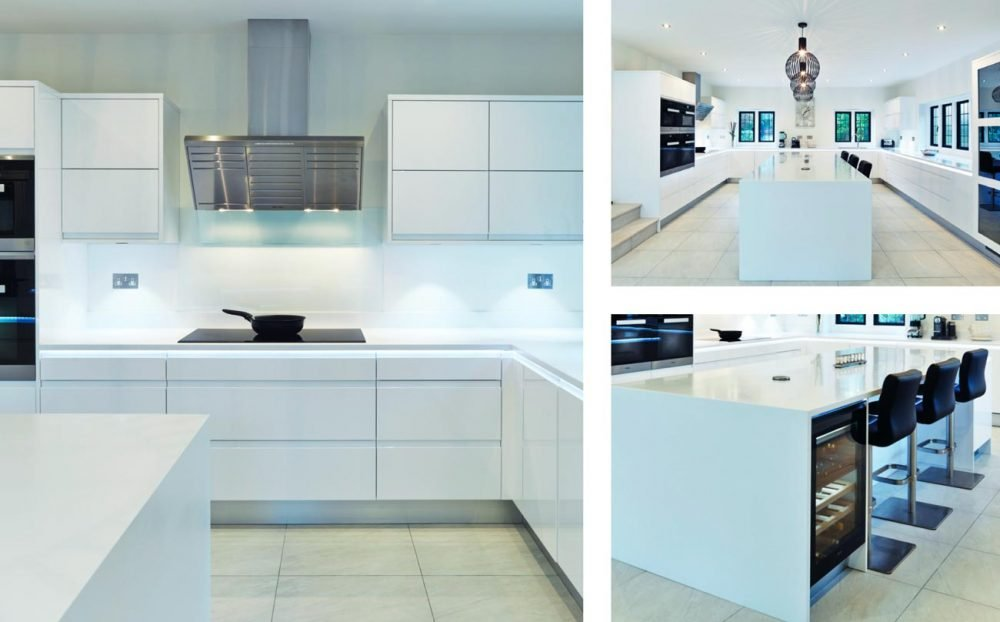 High gloss white kitchen with island and seating