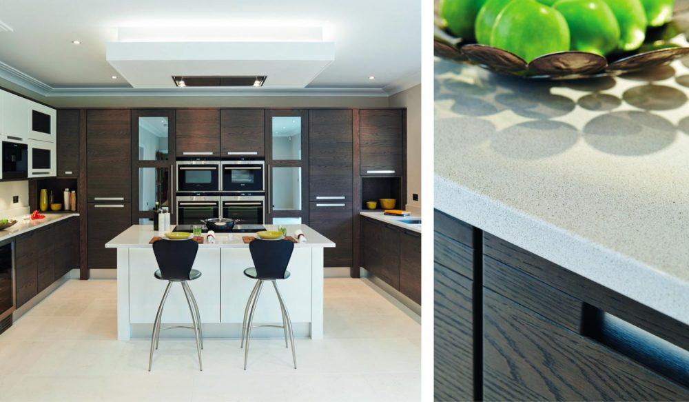 Modern oak kitchen with steel handle trims