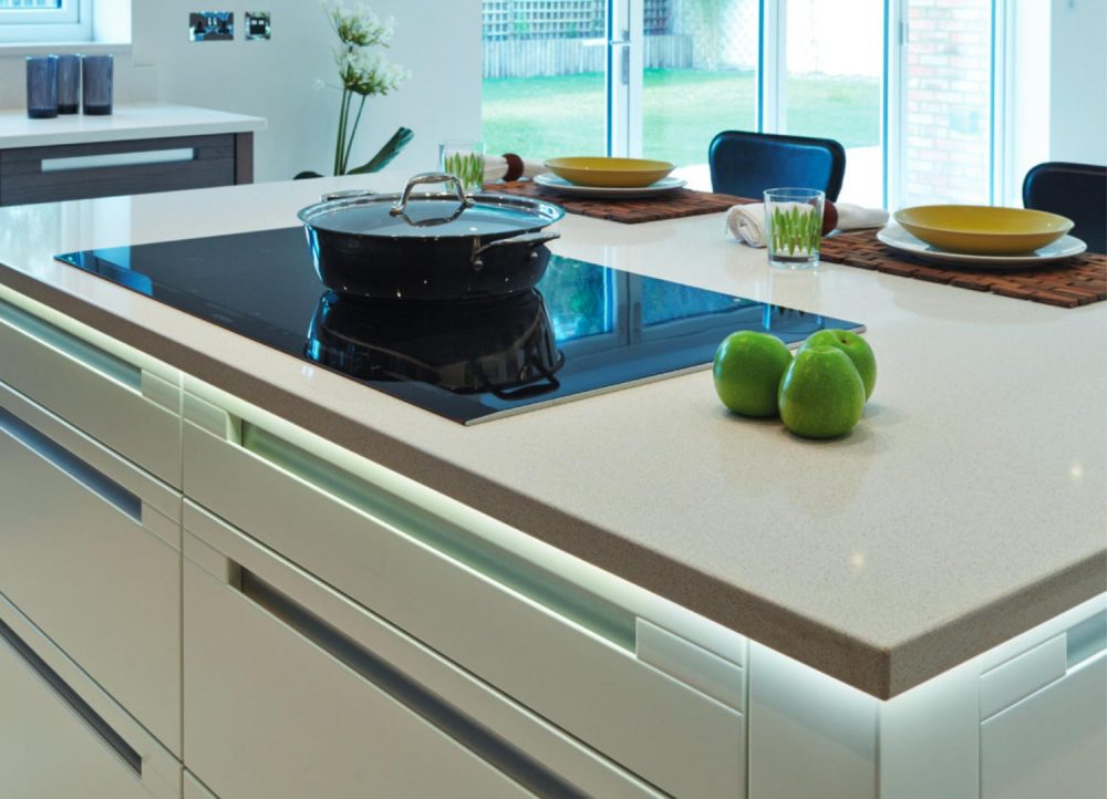 Modern oak kitchen close up of island