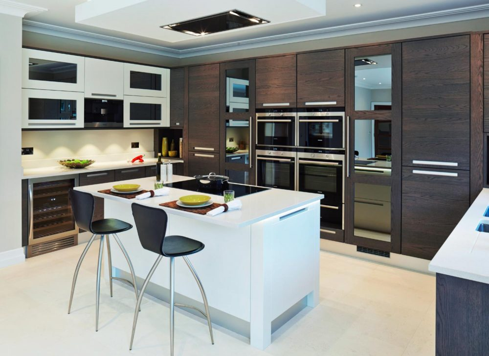 Modern oak kitchen with white island