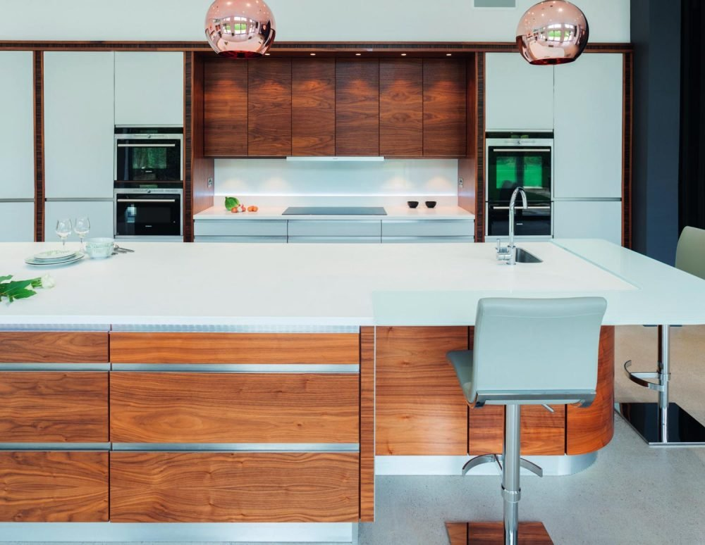 Scandi-style inspired wooden kitchen with copper lights