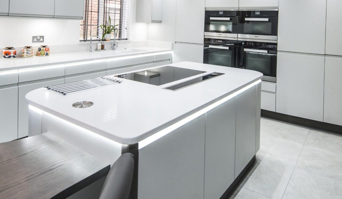 White modern handleless kitchen stoneham kitchens Kitchen design of sevenoaks