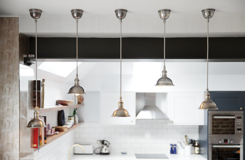 Silver pendant kitchen lights