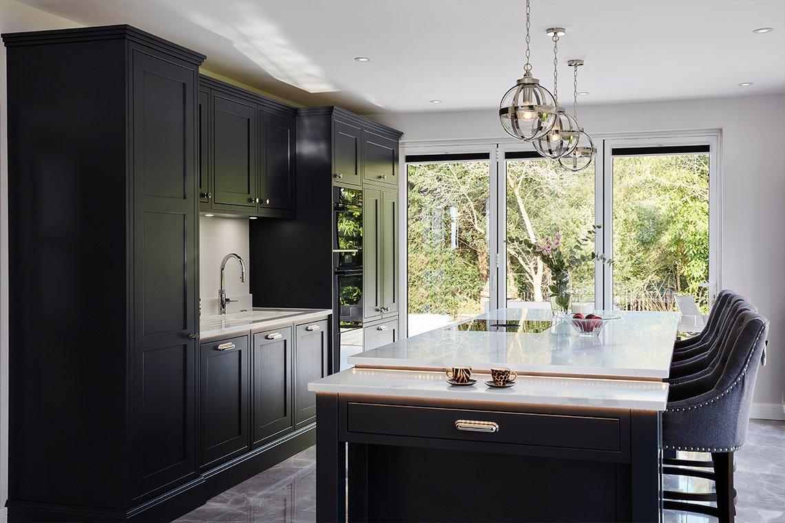 Dark Blue Kitchen With Large Feature Island Stoneham Kitchens