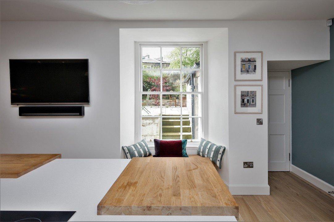 White sash window in country kitchen