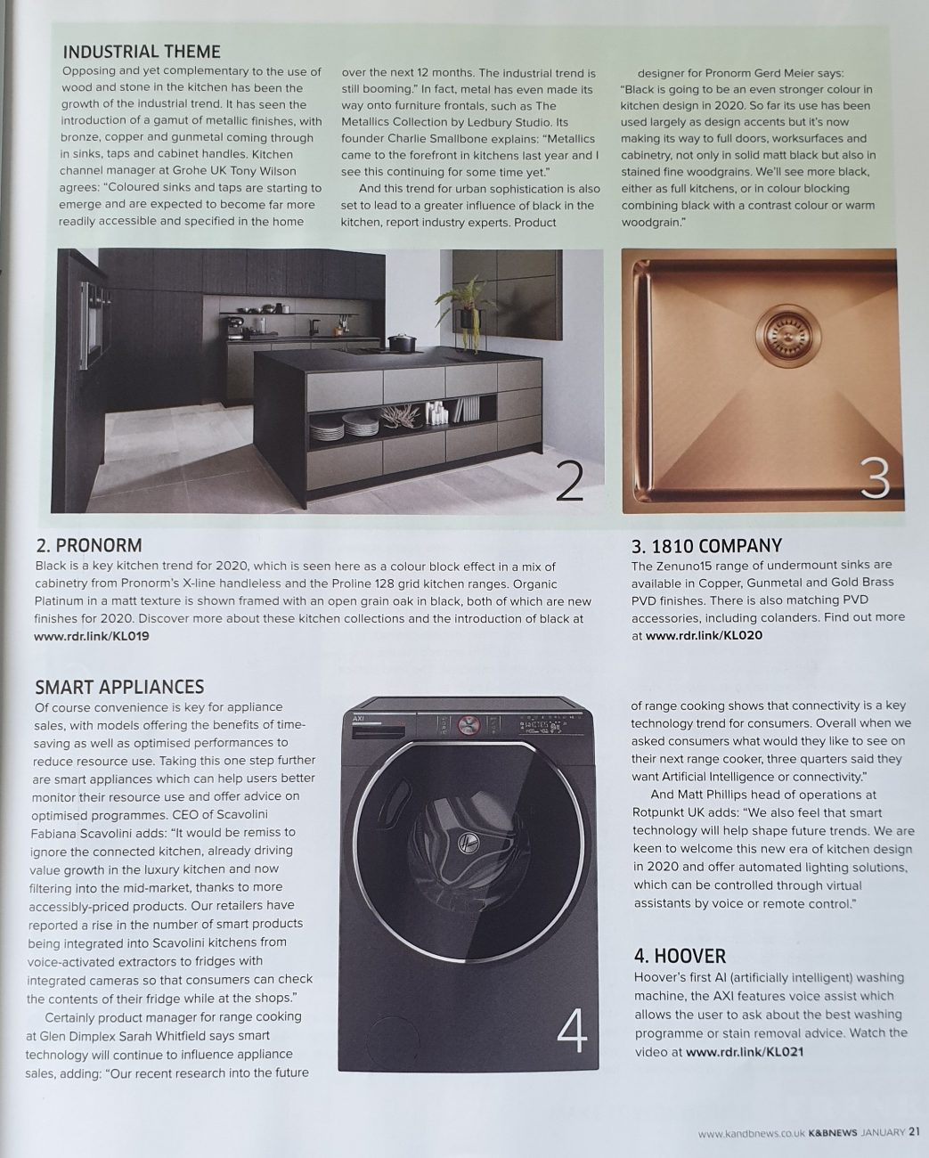 Article on kitchen trends 2020 in kitchens & bathrooms news magazine