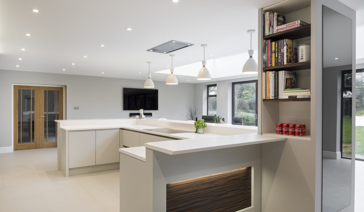 A beautiful kitchen in Ightam, Kent with wonderful timber and dove grey detailing and stylishly re-designed focal column
