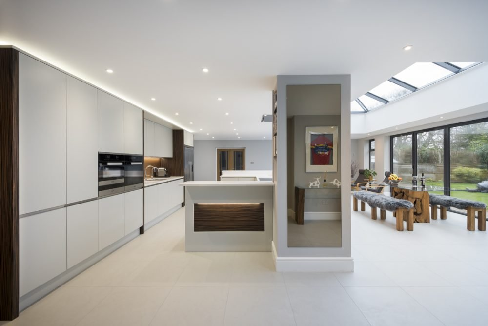 A beautiful kitchen in Ightam, with wonderful timber and dove grey detailing