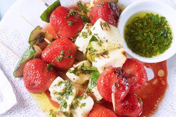 strawberry, halloumi and strawberry skewers