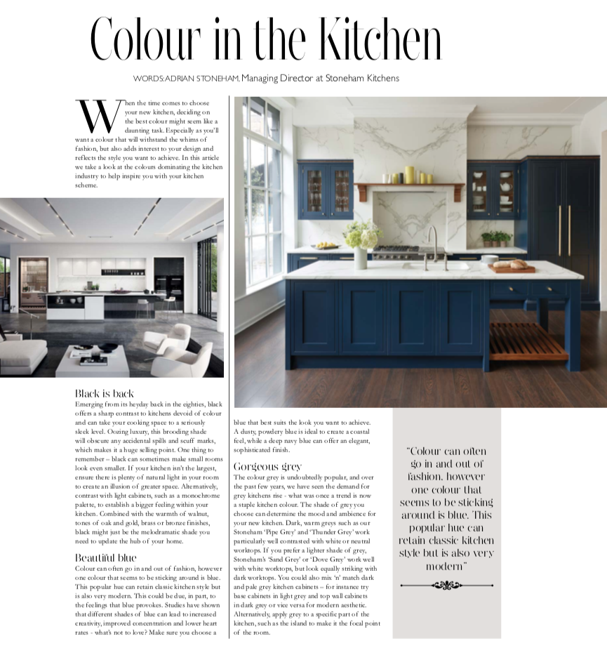 Colour in the kitchen article in Chislehurst Life magazine