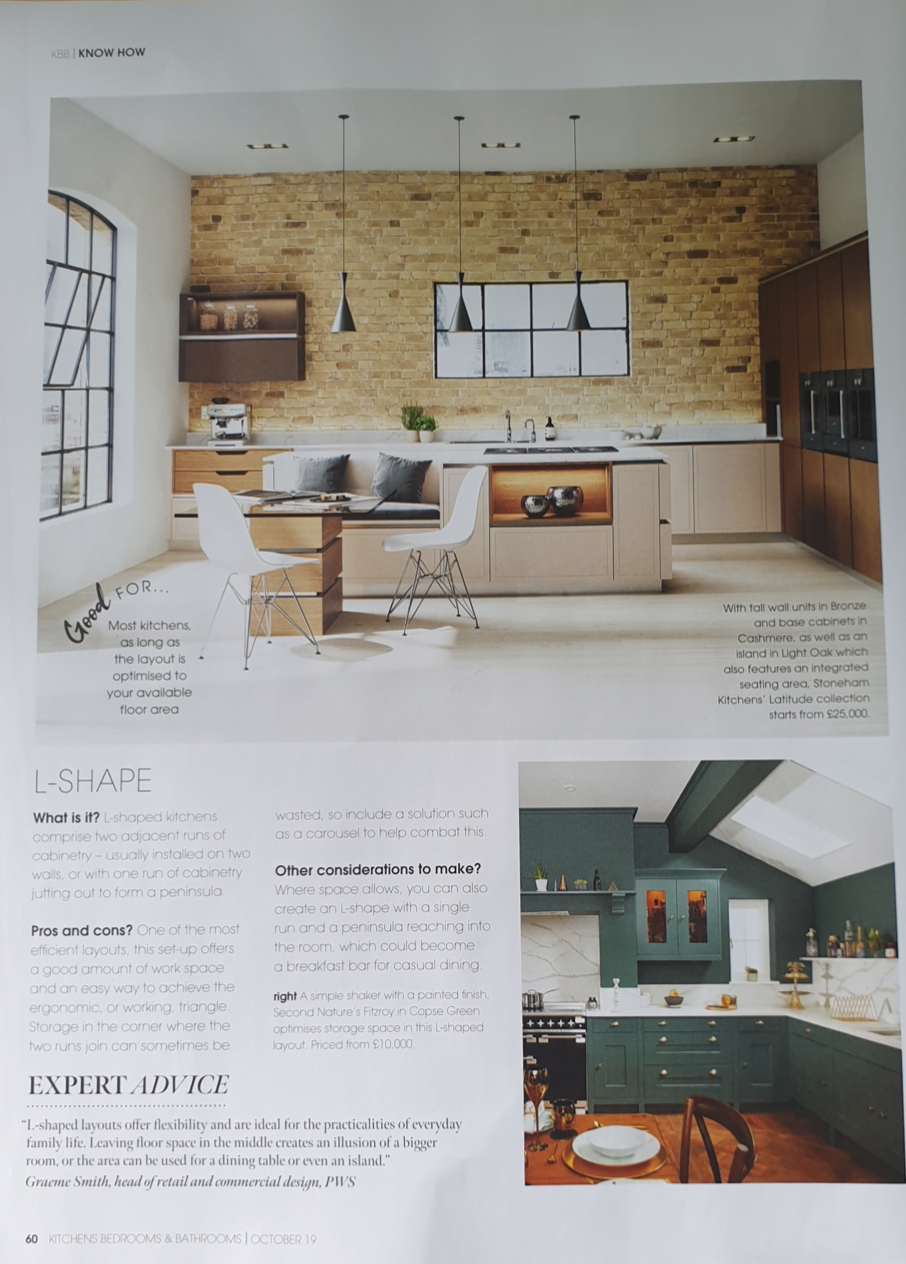 Planning your kitchen layout article in Kitchens Bedrooms & Bathrooms magazine