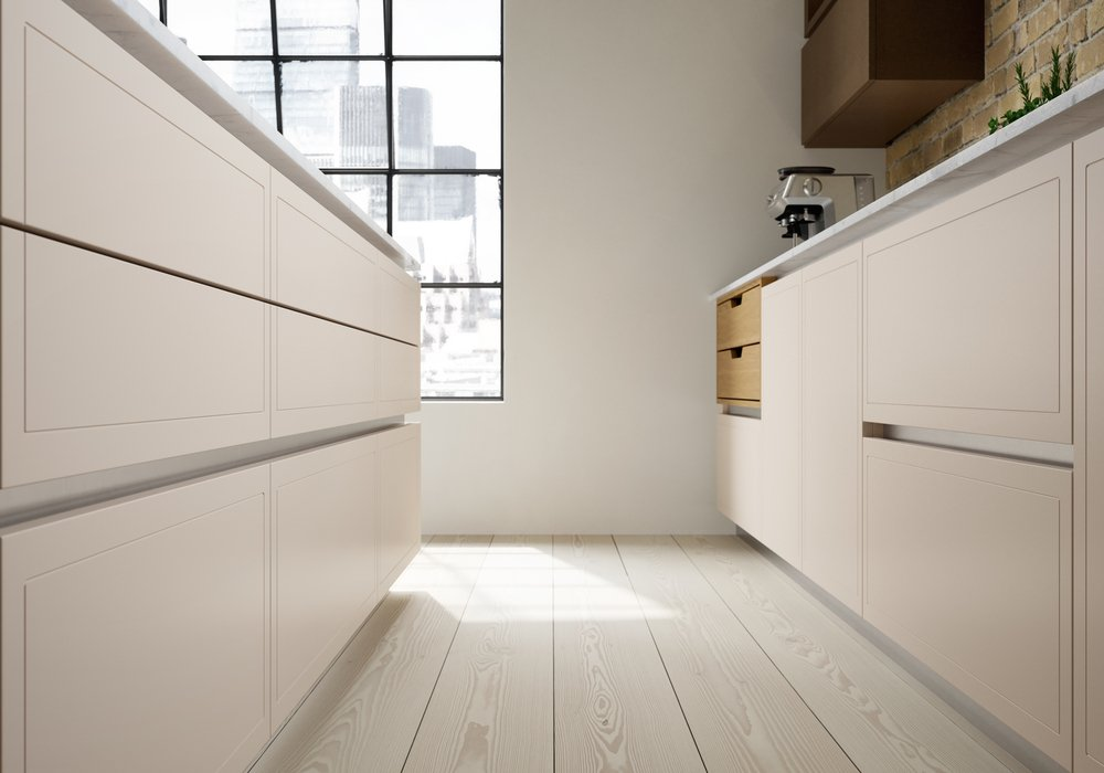 handleless cream kitchen