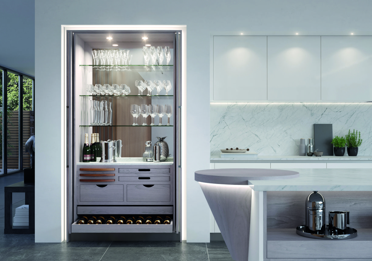 Tall pantry bar, in light grey kitchen