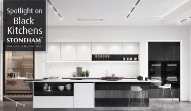 Black and white modern handleless kitchen