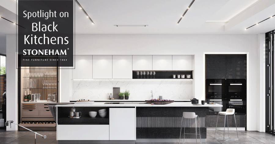 Black and white modern handleless kitchen