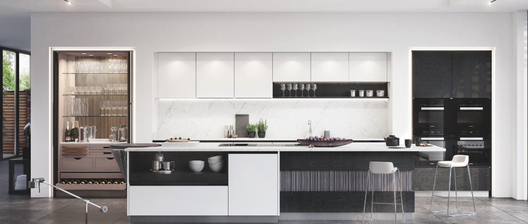 white and black handleless kitchen