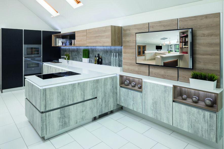 Black, concrete effect and oak kitchen cabinets