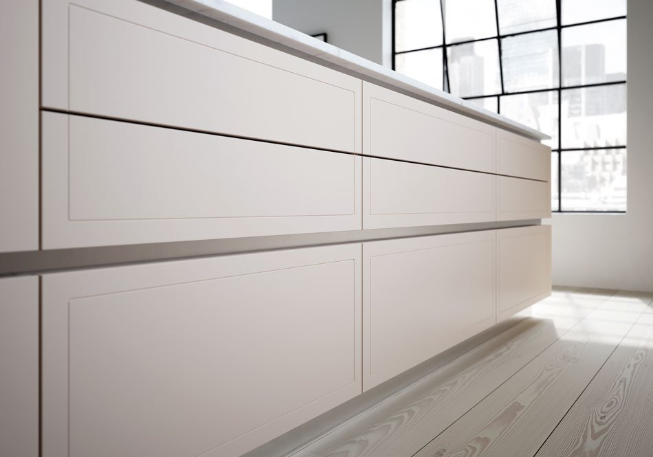 Cashmere cream handleless kitchen cupboards