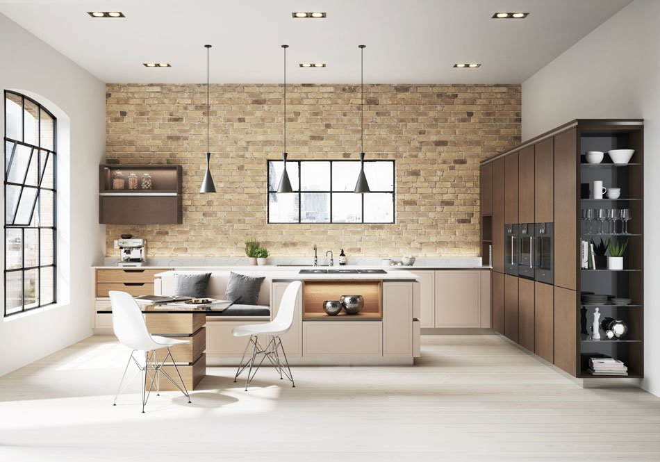 Bronze and cashmere cream kitchen with island and integrated seating booth