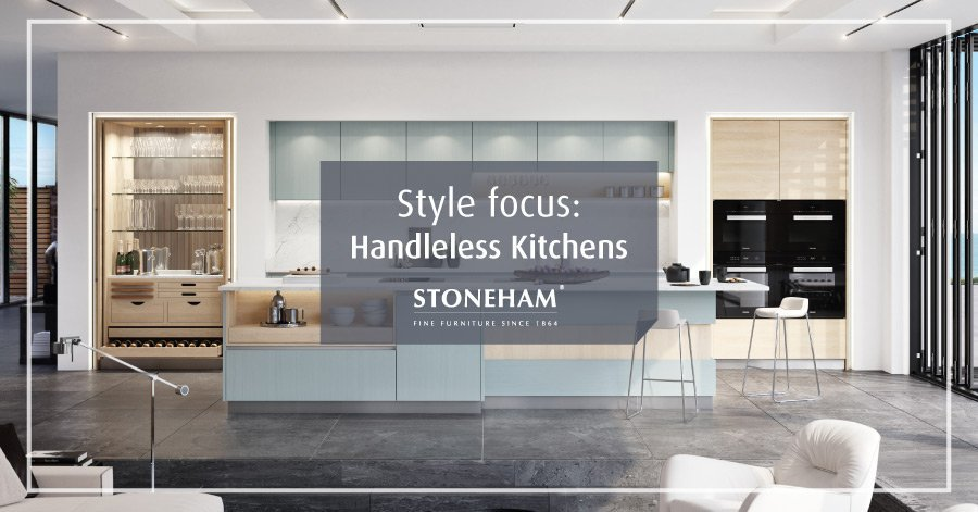 Handleless Kitchen with light blue and oak kitchen cabinets