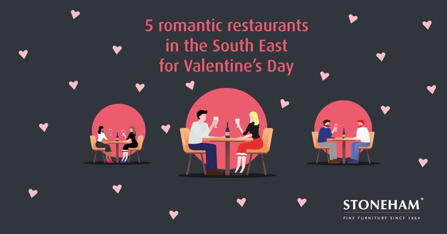 Cartoon of three couples dining at restaurants with pink hearts background
