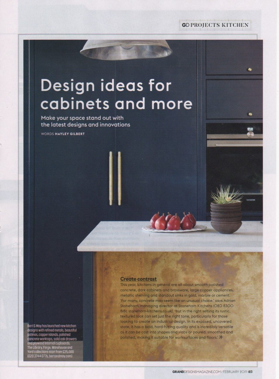 Part 1 of an article in Grand Designs magazine on design ideas for cabinets