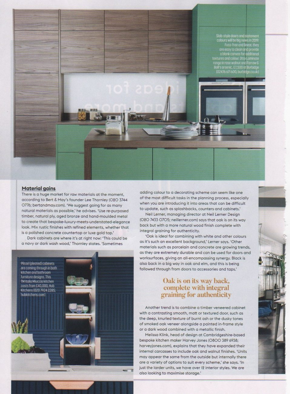 Part 2 of an article in Grand Designs magazine on design ideas for cabinets
