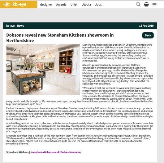 Article on kb-eye announcing Stoneham retailer Dobsons new showroom