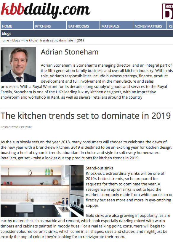 First part of a kitchen trends 2019 article from kbbdaily